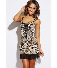 Šaty s leopardím vzorem a krajkou