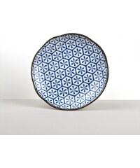 MIJ Kulatý talíř Hexagon Flower INDIGO IKAT 23 cm