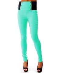 Kalhoty s vysokým pasem modré