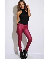 Kalhoty vzhled kůže růžové