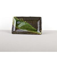 MIJ Talíř na sushi 20 x 13 cm hnědo-zelený