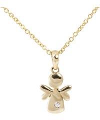 KLENOTA Dětský přívěsek anděl ze žlutého zlata s diamantem