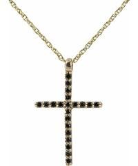 KLENOTA Zlatý přívěsek diamantový křížek
