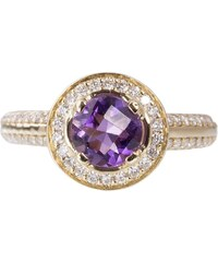 KLENOTA Zásnubní prsten s ametystem a diamanty