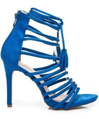 VICES Vázané modré římanky na podpatku