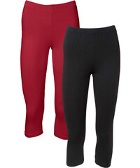 BODYFLIRT Lot de 2 leggings corsaires rouge femme - bonprix