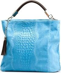 Kožená kabelka Mila světle modrá