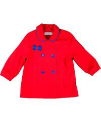 MMDadak Dívčí dvouřadý kabát s mašličkou Kokardki - červený