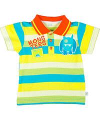 MMDadak Chlapecké pruhované polo tričko Pretty Monster - žluto-modré