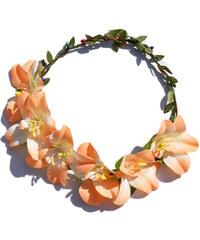 Květinová čelenka do vlasů oranžová C58929