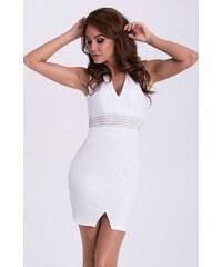EMAMODA dámské šaty bez rukávů s výstřihem do V - bílé