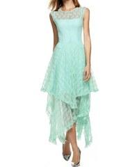 LM moda Letní šaty krajkované mentolové s cípy WB240