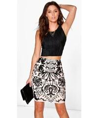 BOOHOO Midi sukně s černou výšivkou