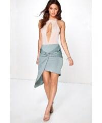 BOOHOO Asymetrická šedozelená sukně Evie