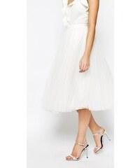 HUSH HUSH Sněhově bílá tylová midi sukně