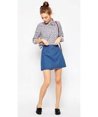 HUSH HUSH Modrá džínová A-Line sukně