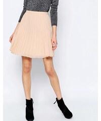 HUSH HUSH Plisovaná krémová mini sukně