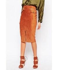 HUSH HUSH Pouzdrová semišová sukně s kapsami