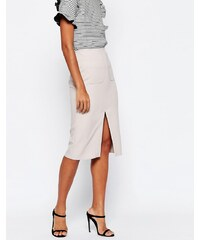 HUSH HUSH Sofistikovaná stříbrná midi sukně