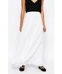 HUSH HUSH Sněhově bílá plisovaná maxi sukně
