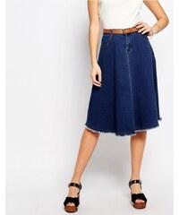 HUSH HUSH Rozšířená džínová midi sukně