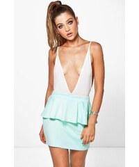 BOOHOO Mentolově zelená mini sukně Suri