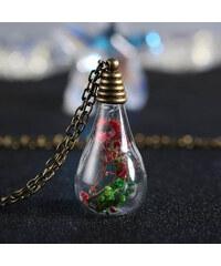 Lesara Halskette mit kegelförmigem Glas-Anhänger & Blüten
