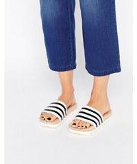 adidas Originals - Adilette - Sandales plates style mules avec semelle en bois - Multi