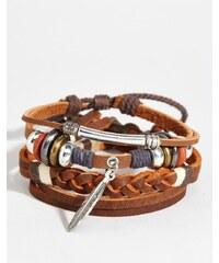 ASOS - Lot de bracelets en cuir avec plume - Marron