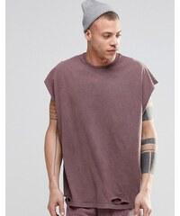 ASOS - T-shirt sans manches super oversize effet usé avec délavage à l'acide - Rose - Rose