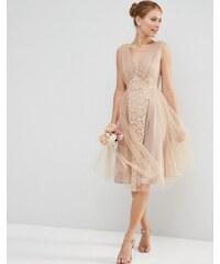 ASOS WEDDING - Robe de bal de fin d'année mi-longue à empiècements en dentelle et tulle - Rose