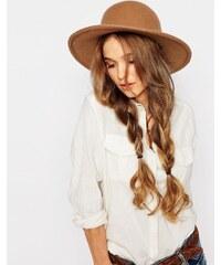 Brixton - Chapeau en feutre à larges bords et ruban contrasté en cuir - Fauve