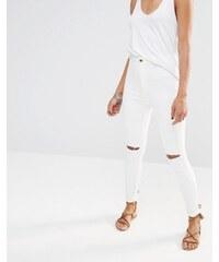 Missguided - Vice - Jean skinny taille haute super stretch déchiré au genou - Blanc