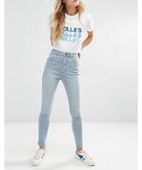 Rollas Rolla's - Eastcoast - Hochgeschnittene Ankle-Jeans mit Streifen - Mehrfarbig