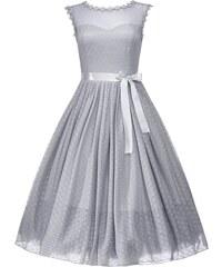 Retro šaty Lindy Bop Aphrodite - holubí šedá velikosti: 46