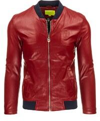 Pánská kožená bunda - červená Velikost: M