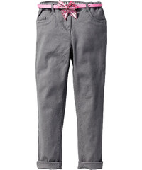 John Baner JEANSWEAR Skinny avec revers bas de jambes et ceinture, T. 116-170 gris enfant - bonprix