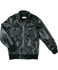 MMDadak Dětská koženková bunda - černá