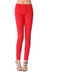 Dámské červené džíny Q2 s vyšším pasem