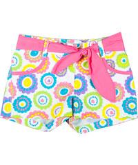 MMDadak Dívčí květované šortky s růžovým páskem Smile - barevné