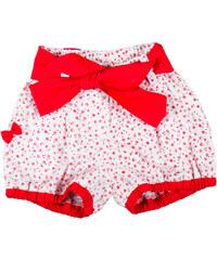 MMDadak Dívčí vzorované šortky s červeným páskem Kvítky - červeno-bílé