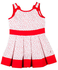 MMDadak Dívčí šaty bez rukávů Kvítky - červeno-bílé