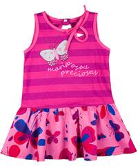 MMDadak Dívčí pruhovaná tunika s motýlky - růžová