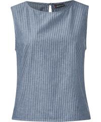 Street One Streifendenim-Top Mina - mid blue weiß striped, Damen