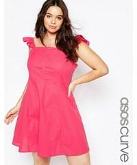 ASOS CURVE - Sommerkleid mit Knöpfen vorn und Rüschenärmeln - Rosa