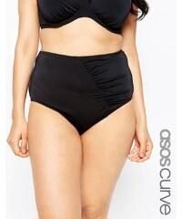ASOS CURVE - Mix & Match - Bas de bikini taille haute gainant froncé sur les côtés - Noir