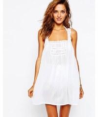 ASOS - Strandkleid mit Trägern und Spitzeneinsätzen - Weiß