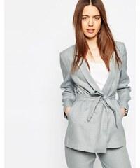 ASOS - Blazer en lin mélangé à manches kimono - Bleu