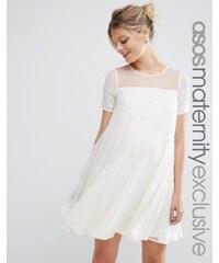 ASOS Maternity - Schillerndes schwingendes Kleid mit Pailletten - Cremeweiß