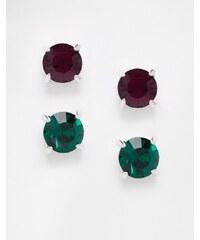 Krystal - Lot de deux paires de boucles d'oreilles à cristaux de Swarovski - Multi